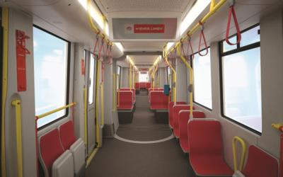 Interior of new Bombardier trams
