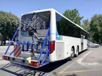 Rear of bus showing bike rack