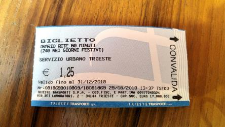 A single ticket of Trieste Trasporti
