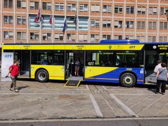 Bus exterior with access ramp