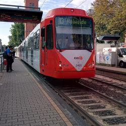 Light rail, Köln, at the platform