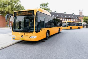 Yellow City Bus gas buses in Fredericia