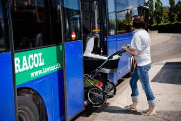 Boarding a Blue Bus with a pram
