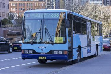 Bus front and side view in Transport NSW livery