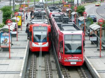 Trams at the platform