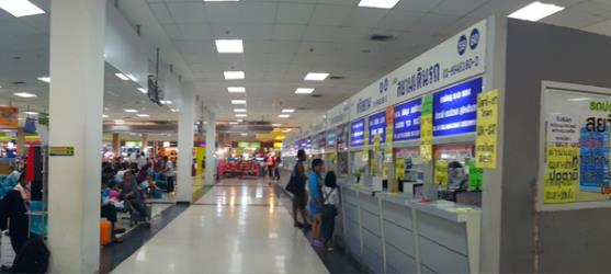 Ticket counters inside Southern Bus terminal