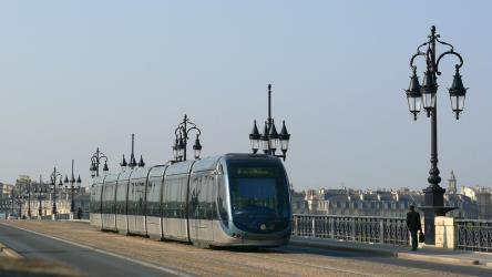 Line B tram on Pont de Pierre