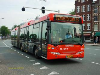 Waterland bus in red and grey livery