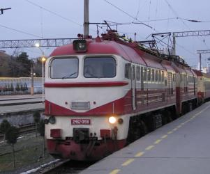 Electric locomotive at Baku Station