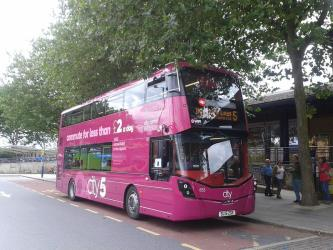 Bus with pink livery of Route 5