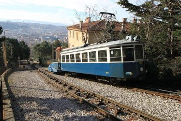 Opicina tram, funicular section and panorama of Trieste