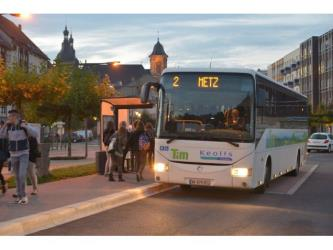Bus to Metz at the bus stop