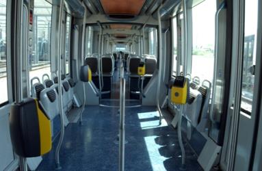 Interior of ultra low floor tram