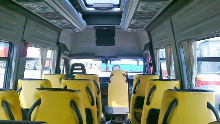 Bus interior from the rear