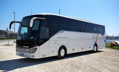 Setra 51 seater bus side and front view