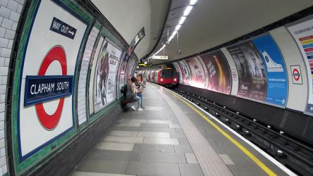 Tube approaching at Clapham South station