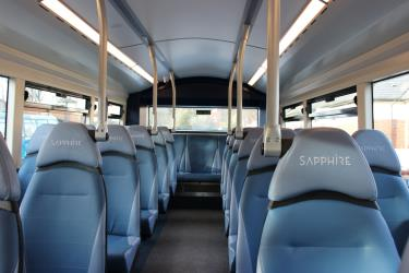 Interior seating of double decker bus