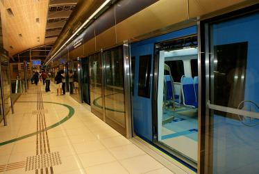 Metro Dubai at station platform