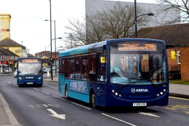 Two Arriva single level buses