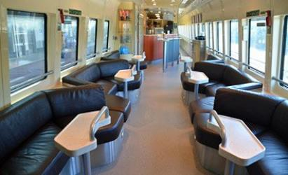 The lounge car on the Spirit of Queensland tilt train