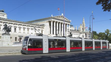 Line D tram in front of the Vienna Parliament