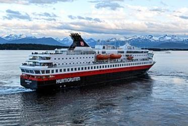 MS Nordkapp leaving Molde, Norway