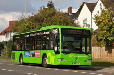 Bright green livery of City6 bus route