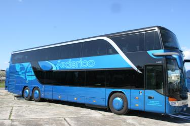 Double level bus side view