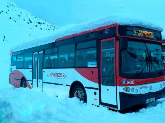 Alosa bus in the snow