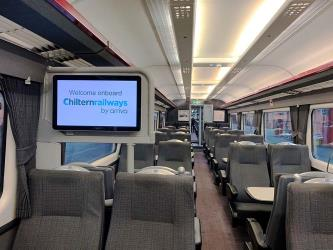 Refurbished interior of silver set trains