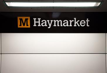 Haymarket Station with corporate branding