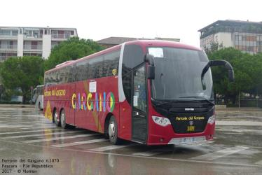 Inter urban bus front and side view