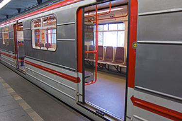 Train at the station showing interior