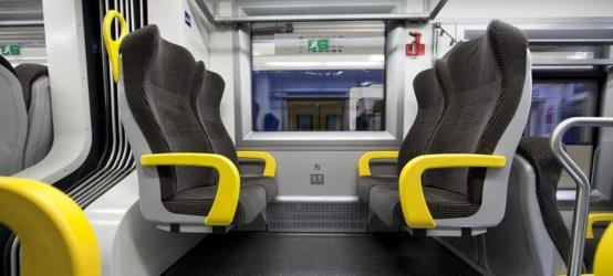 Train interior showing seats