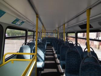 Upper level seating on double decker bus