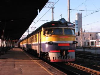 Train at a Riga station platform