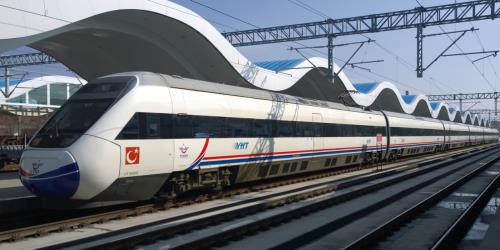 High speed train side view