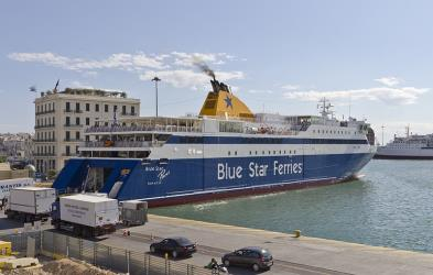 Blue Star Paros in the port of Piraeus