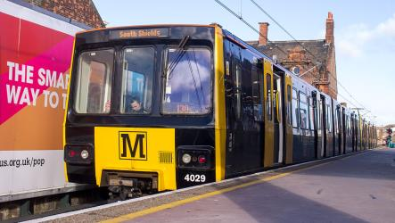 Metro train at South Shields station