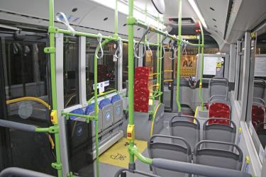 Bus interior showing priority seating
