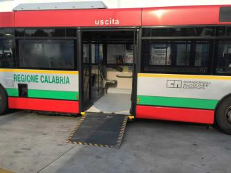 Bus side entrance with ramp
