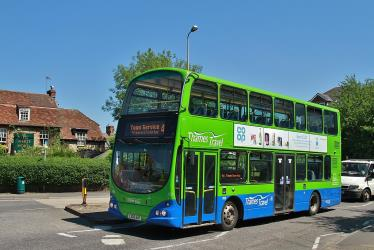 Double decker bus in Blue/Green livery
