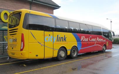 Scottish Citylink bus rear and side view