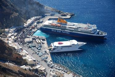 The Blue Star Ferry in Santorini Port