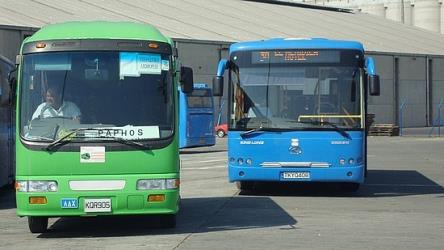 The intercity green and blue urban bus