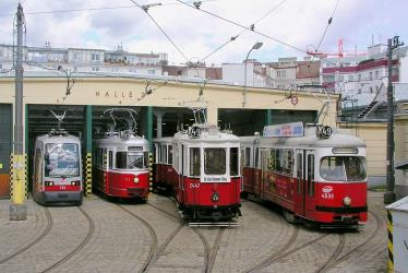 Four generations of trams at the Breitensee Depot