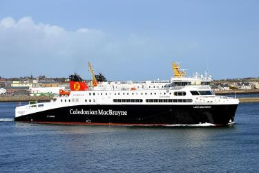 Loch Seaforth car ferry departing Stornoway