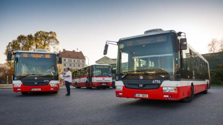 Exterior of three Prague buses