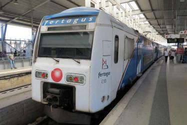 Fertagus train at Entrecampos Station, Lisbon
