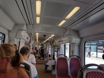 Interior of tram on line 1